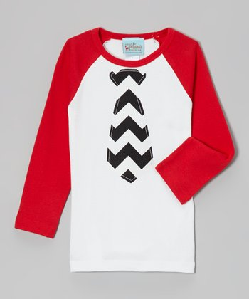 Red & White Zigzag Tie Raglan Tee - Infant, Toddler & Boys