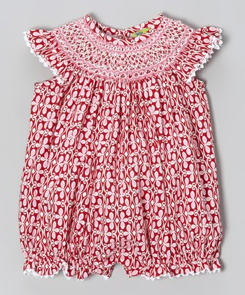 Red Valentine Smocked Bubble Romper - Infant & Toddler