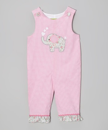Pink Paisley Elephant Ruffle Overalls - Infant & Toddler