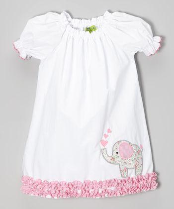 White & Pink Elephant Puff-Sleeve Dress - Infant, Toddler & Girls