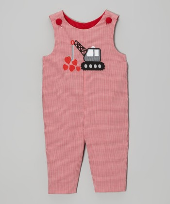 Red Crane Heart Overalls - Infant & Toddler