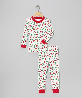 Red & White Polka Dot Pajama Set - Toddler & Kids