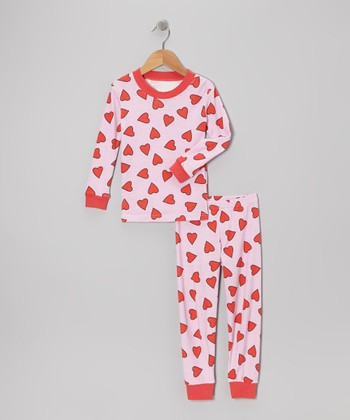 Pink Heart Pajama Set - Girls