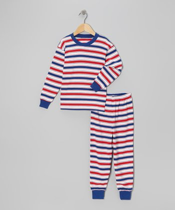 Blue & Red Stripe Pajama Set - Toddler & Boys