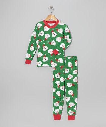 Green Santa Pajama Set - Kids