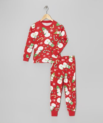 Red Snowman Pajama Set - Kids