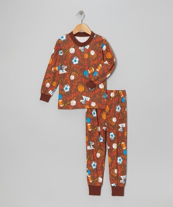Brown Sports Pajama Set - Toddler & Boys