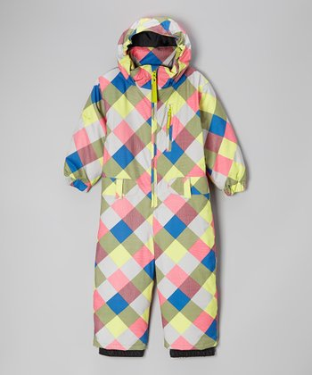 Lime Plaid Hooded Snow Suit - Girls