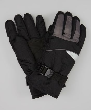 Black & Gray Ski Gloves