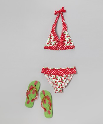 Red Cherry Halter Bikini & Flip-Flops - Girls