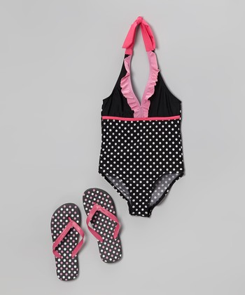 Black & Pink Polka Dot One-Piece & Flip-Flops - Girls