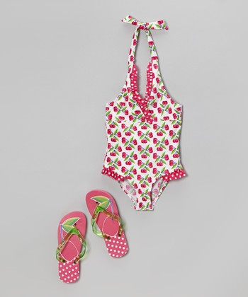 Pink Cherry One-Piece & Flip-Flops - Girls