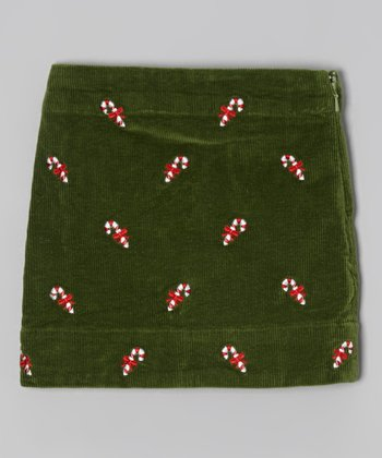 Green Candy Cane Corduroy Skirt - Toddler & Girls