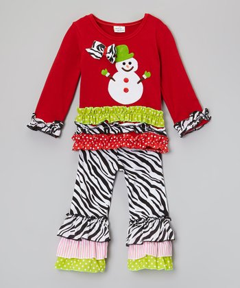 Red Snowman Zebra Ruffle Top & Pants - Infant, Toddler & Girls
