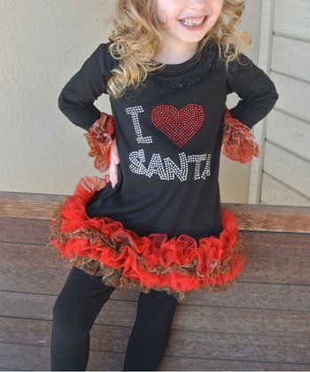 Red 'I Heart Santa' Ruffle Dress - Infant, Toddler & Girls
