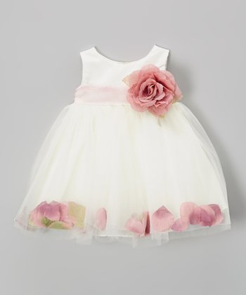 Ivory & Dusty Rose Petal Dress - Infant