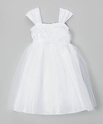 Cinderella Couture White Rosette Dress - Toddler & Girls