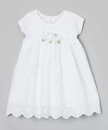 Truffles Ruffles White Adelle Eyelet Dress - Infant