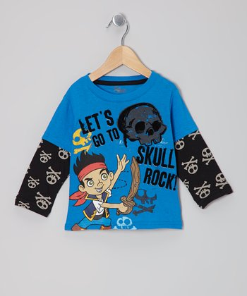 Blue & Black Jake the Pirate Layered Tee - Toddler