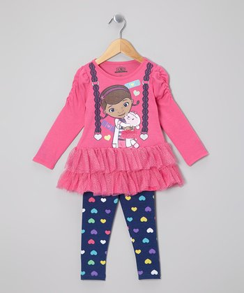 Pink Doc McStuffins Tutu Top & Heart Leggings - Toddler & Girls