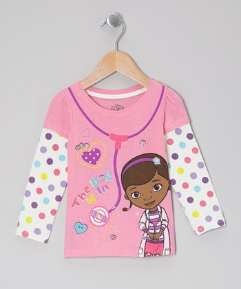 Pink Polka Dot Doc McStuffins Layered Tee - Toddler