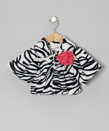 Black & White Zebra Faux Fur Coat - Toddler & Girls