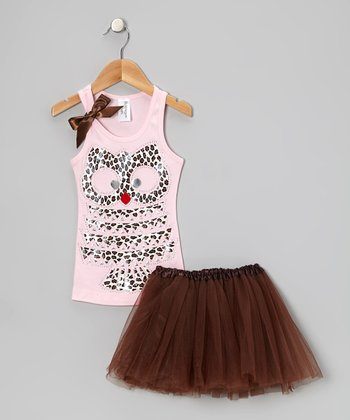 Light Pink Leopard Owl Tank & Brown Tutu - Toddler & Girls