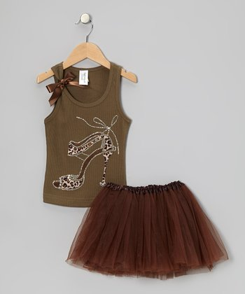 Khaki Leopard Heel Tank & Brown Tutu - Toddler & Girls