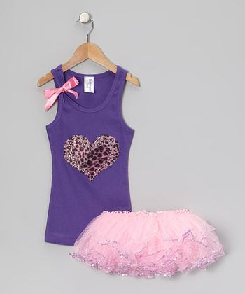 Purple Leopard Heart Tank & Pink Sequin Tutu - Toddler & Girls