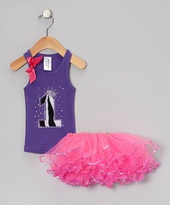 Purple Leopard '1' Tank & Pink Sequin Tutu - Infant