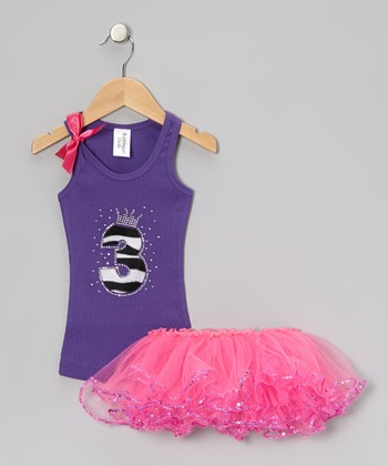 Purple Leopard '3' Tank & Pink Sequin Tutu - Toddler