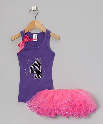 Purple Leopard '4' Tank & Pink Sequin Tutu - Toddler