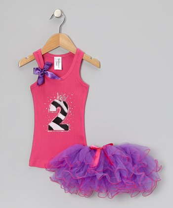Hot Pink Leopard '2' Tank & Purple Tutu - Infant