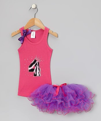 Hot Pink Leopard '4' Tank & Purple Tutu - Toddler