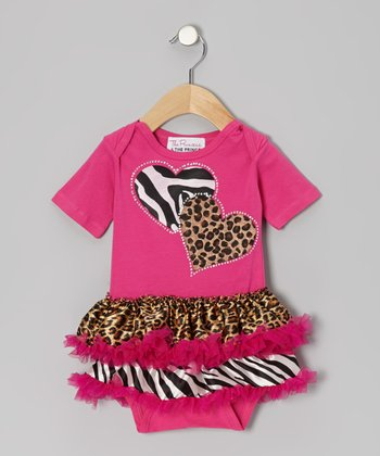 Pink Wild At Heart Skirted Bodysuit - Infant