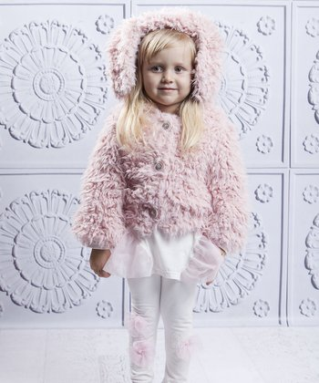 Pink Bunny Ear Fuzzy Jacket - Toddler & Girls