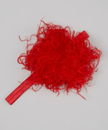 Red Flower Curly Marabou Headband