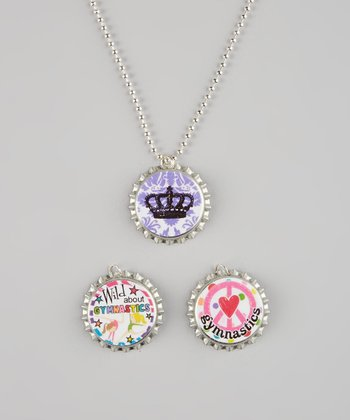 Pink & Purple Gymnastics Bottle Cap Necklace Set