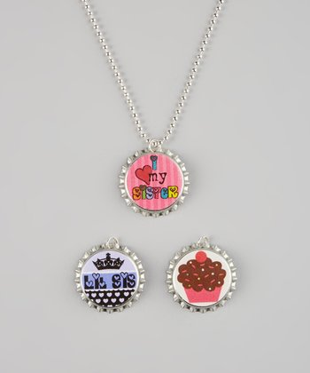 Pink & Purple Little Sister Bottle Cap Necklace Set