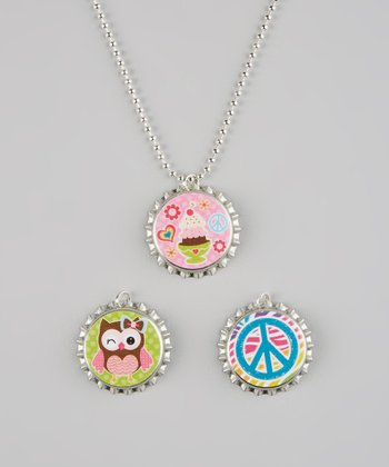 Pink & Green Peace Owl Bottle Cap Necklace Set