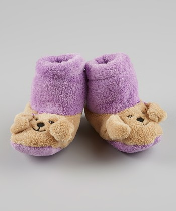 Purple & Tan Puppy Slipper