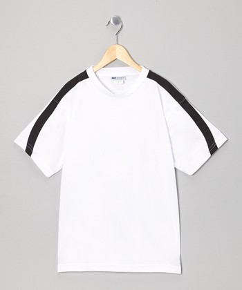 White & Black Stripe Tennis Top - Boys