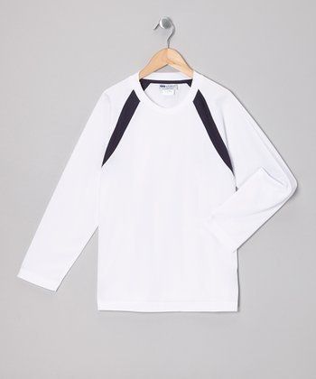 White & Black Stripe Long-Sleeve Tennis Top - Boys