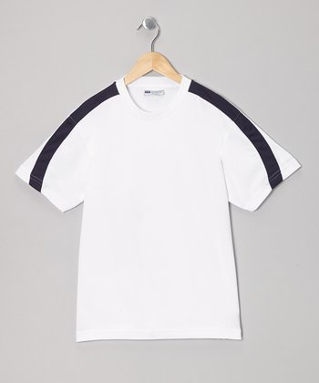 White & Navy Stripe Tennis Top - Boys