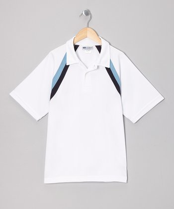 White & Black Accent Tennis Top - Boys
