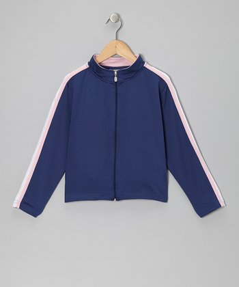 Dark Blue & Pink Stripe Track Jacket - Boys