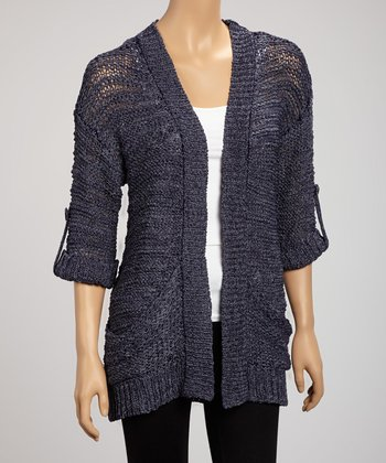 Navy Marine Yarn Pocket Open Cardigan