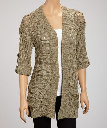Sage Yarn Pocket Open Cardigan