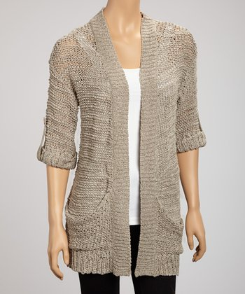 Mocha Yarn Pocket Open Cardigan