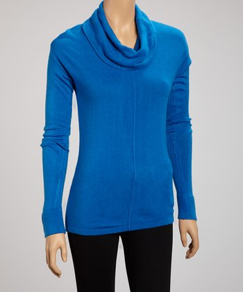 Cobalt Cowl Neck Top